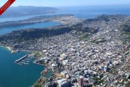 An aerial perspective captures views of the harbour entrance, the airport, Mt. Victoria, the waterfront and the central city.