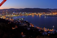 Wellington by night. The central city is a jewel in the harbour, twinkling at dusk when the lights come on.